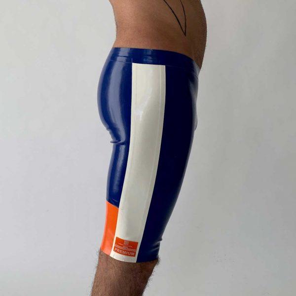 Latex Biker Hose, kurz, in blau, weiß orange, enger Schnitt, Logo in blau, Premium Kollektion