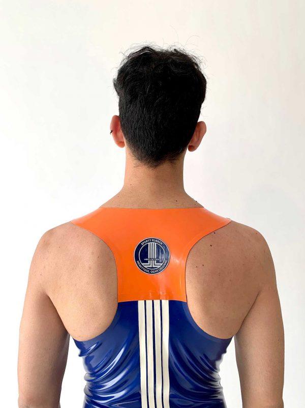 Latex Biker Tanktop in blau, slim fit, tiefer Ausschnitt, orange Details und Logo in weiß, Premium Kollektion