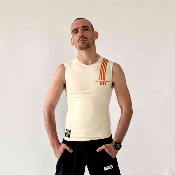Rubber, Latex Sleeveless in Weiß, slim fit geschnitten, oranges Logo. Herren, Jungs, Kerle