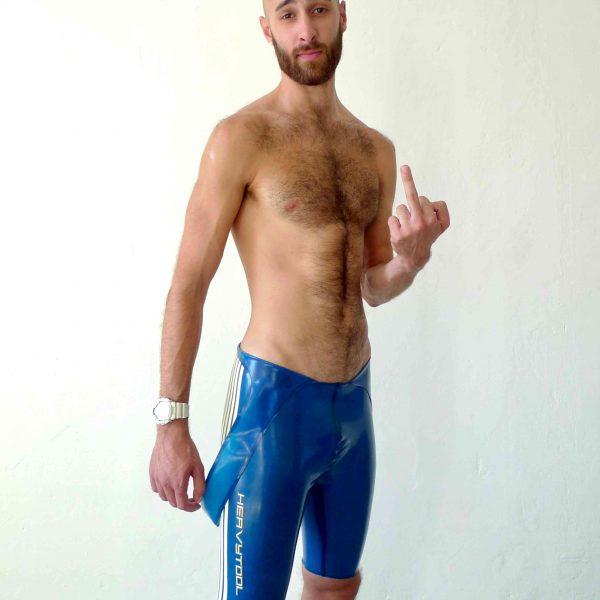 Rubber Latex Wrestler Body in transparent blau, mit weißen Streifen und Details, sportlich slim fit geschnitten